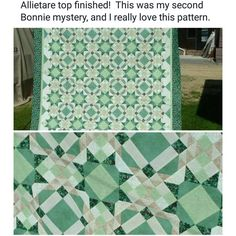 Anita is sharing her #allietarequilt top finish including shades of mint, green, and taupe!  It looks so refreshing! I absolutely love it when you interpret my designs with your own colors and your own fabrics!  Great finish, Anita!  The pattern for Allietare is found in  the digital downloads section of the Quiltville Store. Http://quiltville.com  #quilt #quilting #patchwork #quiltville #bonniekhunter #quiltsbyyou