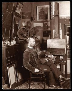 John Francis Murphy in his studio at The Chelsea, West 23rd Street, New York (1900) by Cea., via Flickr
