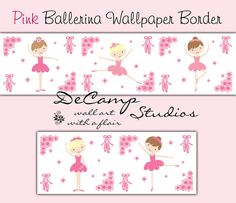 Pink Ballerina Wallpaper Border Wall Decals for baby girl ballet nursery and children's room decor #decampstudios