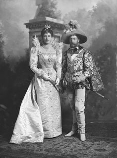 King George V & Queen Mary at the Devonshire House Ball 1897, by Lafayette as (King George V) The Queen's Champion, George Clifford, 3rd Earl of Cumberland (1558-1605);(1)  (Queen Mary) 'A Lady at the court of Marguerite de Valois'.