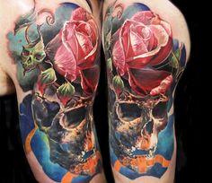 Skull tattoo by Dmitry Vision