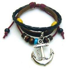 Retro Anchor Pendant Three Leather Bracelet
