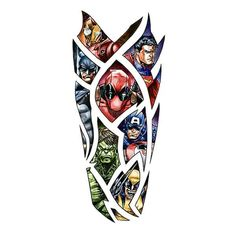 View the world's best custom tattoo designs in our design gallery. We have d… In our design gallery you will find the best custom tattoo designs in the world. We have created thousands of great custom tattoo designs. Deadpool Tattoo, Spiderman Tattoo, Avengers Tattoo, Marvel Tattoos, Marvel Tattoo Sleeve, Dc Tattoo, Comic Tattoo, Hand Tattoo, Tattoo Fonts
