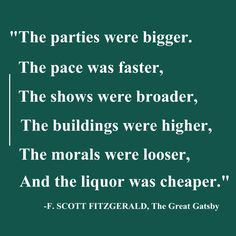 a visit to the 1920s in the great gatsby by f scott fitzgerald F scott fitzgerald's famous american novel, the great gatsby was a lyrical portrait of the roaring twenties including the prohibition era.