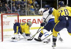 Jan.05 2016 - Wpg.4 - NSH.1 - Winnipeg Jets right wing Drew Stafford, second from left, scores a goal against Nashville Predators goalie Pekka Rinne (35), of Finland, in the first period of an NHL hockey game Tuesday, Jan. 5, 2016, in Nashville, Tenn. (AP Photo/Mark Humphrey) Another glimpse into the future - Winnipeg Free Press