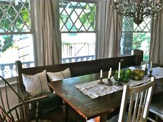 old church bench at kitchen table.
