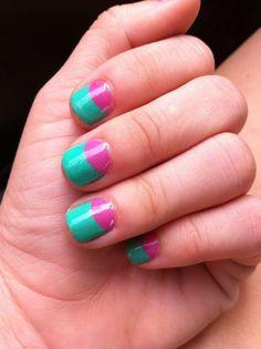 Half moon pink and teal nails nails pink nail teal nail art nail designs