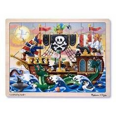 Melissa and Doug - Pirate Adventure Jigsaw 48pc: Sailing over the bounding main, comes this pirate ship, where even the mouse is ready for adventure! Discovering all the fun details in this picture will be an adventure for the assembler! This wooden, 48-piece jigsaw puzzle comes packaged in a sturdy, wooden tray for puzzle building and easy storage. #alltotstreasures #melissaanddoug #pirateadventurejigsaw48pce #woodentoys #puzzle #pirates