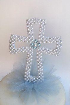 Cross  Brooch Pearl cross Set of 10 Cross boutonniere Rhinestone Cross  Baptism White Cross Cross Corsage Pearl Cross Boutonniere