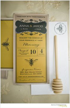 Honey Theme Wedding Ideas bee invitations stationary