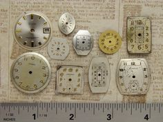 Antique Vintage brass silver gold round square watch parts dials lot for jewelry assemblage collage mixed media Steampunk Art Supplies 1967. $12.95, via Etsy.