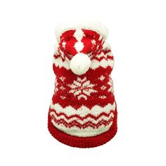 Hooded Sweater in Snow Red for your Dog