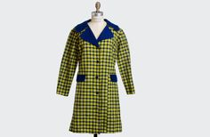 Vintage 60s 70s PLAID Yellow & Navy Knit by twinheartsvintage