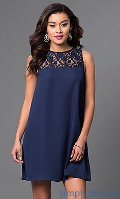 Lace Neckline Short Shift Dress