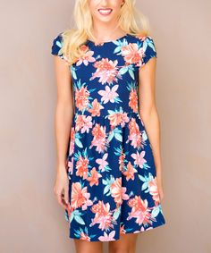 This E&M Navy Floral Oahu Dress by E&M is perfect! #zulilyfinds