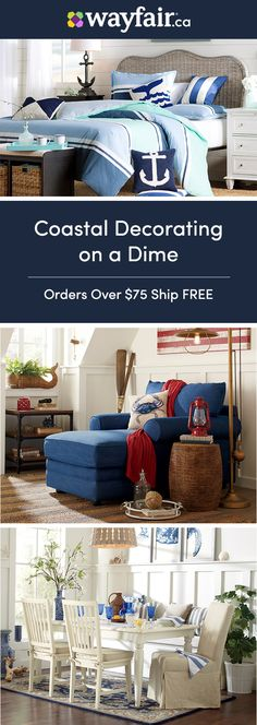Sign up for access to the best deals on everything home, including ocean-inspired designs for your very own beach house. Embrace seaside style with a cool colour palette, nautical decor, and more. Styles for every room are up to 70% OFF daily, and orders over $75 ship FREE.