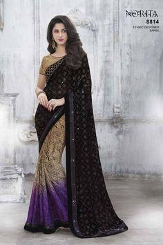 Buy Black Net Designer Saree at Best Price on Variation. Huge Collection of Designer Sarees, Party Wear Sarees, Half and Half Sarees, Wedding Sarees, Silk Sarees and Cotton Sarees for Women.
