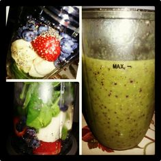 Made a Healthy NutriBullet Drink with Spinach, Banana, Strawberries, Blueberries with Chia Seed add Water.  It's Delicious when it is nice & cold .. Refreshing ♥♡ on #09-09-2013 Hawaii