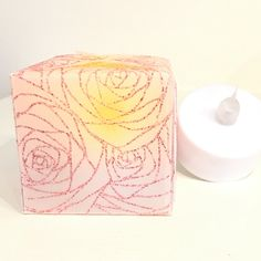 "Impression Obsession Challenge - Last Minute Gifts! Sketched Roses (CC187). WOW Amber Rose embossing glitter. Strathmore Natural Translucent Vellum 6""x6"".  We R Memory Keepers 123 Punch Board"