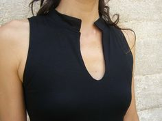 Womens tunic-Asian lycra/jersey  tunic in black-Made to order-High slits at sides-Sleeveless womens tunic-Sleeveless/long sleeves. $125.00, via Etsy.