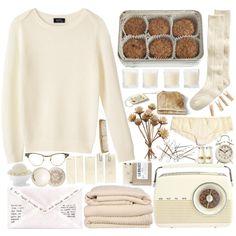 """ivory mornings"" by bluevelvetmoon on Polyvore Cream <3 socks sweaters panties cozy"