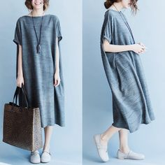 Korean Style Gray Casual Loose Dress Women Tops Q1795A