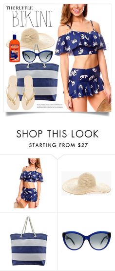 """Ruffled Up Swimwear 1558"" by boxthoughts ❤ liked on Polyvore featuring Barneys New York, Chico's, Alexander McQueen, Havaianas and ruffledswimwear"
