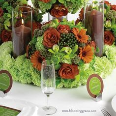 Chartreuse & Copper Detailed Fabulous Fall  Tablescape