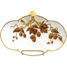 Limoges porcelain tray Autumn leaves in gold @rubylanecom #Autumn #fallleaves #antique