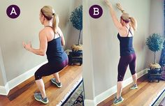 touch go~A. Begin by facing a wall with your feet hip-width apart and your hands by your sides. Lower into a squat position, then jump up as high as you can and touch the wall overhead with your fingertips.  B. Land back in a squat position and keep repeating the move for the duration of the set.