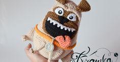 Krawka: PUG crochet pattern: https://www.etsy.com/listing/479899163/crochet-pattern-the-pug-pattern-by?ref=shop_home_active_1 Mel secret life of pets dog puppy pet smile dopey