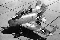Lookit this little spud! McDonnell XF-85 Goblin. It was designed to attach to B-36 strategic bombers for air support. Not a super good idea.