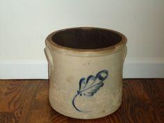 Two Gallon Crock Cobalt Vintage Antique Stoneware by TheCrockery1