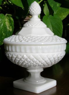Vintage Candy Dish with Lid - Waterford - Milk Glass (stem no.300) pattern by Westmoreland Crystal