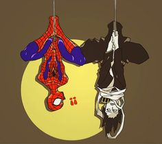 """Anime/Marvel crossover. Aizawa from My Hero Academia """"hanging out"""" with Spider-Man. Almost too awesome."""