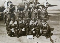 """This is the crew of """"Heaven and Earth,"""" a B-17 bomber parked behind them. Staff Sgt. Tristano is the crewman in the back row second from the right. Photo provided"""