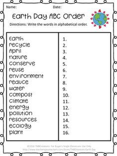 Enjoy this FREE Earth Day printable worksheet!  In this product you will receive one free printable Earth Day ABC Order worksheet. This would a great vocabulary practice! A separate answer key is also included.