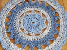 Ready To Ship New Doily Rug Beautiful Blues by RagstoRugsandMore