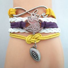 Infinity Love Minnesota Vikings Football - Show off your teams colors! Cutest Love Minnesota Vikings Bracelet on the Planet! Don't miss our Special Sales Event. Many teams available. www.DilyDalee.co