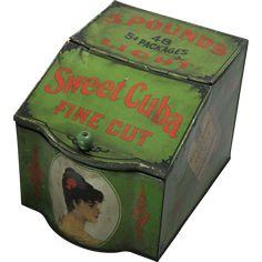 Early 1900's Sweet Cuba Counter Top Display Tin Bin