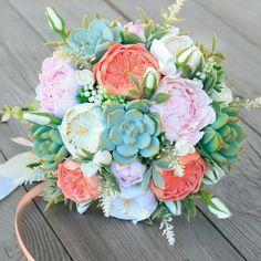 Wedding bouquet, clay bouquet, succulent bouquet, roses, peony, coral bouquet #WeddingCrowns