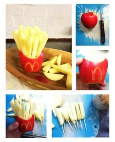 "healthy mcdonalds ""fries"" haha love it! Cute Snacks, Snacks Für Party, Cute Food, Good Food, Yummy Food, Party Favors, Healthy Mcdonalds, Mcdonalds Fries, Healthy Fries"