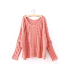 Sweet Style Scoop Neck Candy Color Batwing Sleeve Cable Knit Sweater For Women (PINK,ONE SIZE) China Wholesale - Sammydress.com