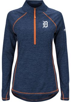 6197edf0 Majestic Detroit Tigers Womens Don't Stop Trying Navy Blue 1/4 Zip