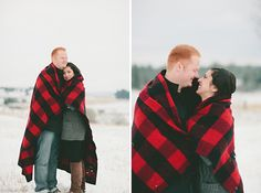 cute winter engagement photos but with our osu blanket