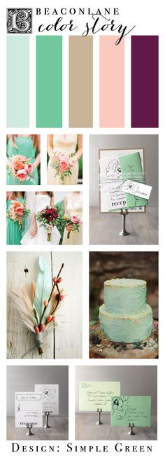 Color Inspiration for a Mint & Lace Garden Wedding #mintwedding #mintweddinginvitations #beaconlane  Purchase the sample invite here: https://www.etsy.com/listing/87654252/lace-wedding-invitations-wedding?ref=shop_home_active_1&ga_search_query=simple%2Bgreen