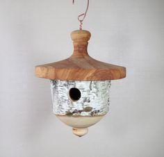 Birdhouse - Hand Made - Functional - Wood - White Birch bark - titmice, chickadee & wren house - lathe turned