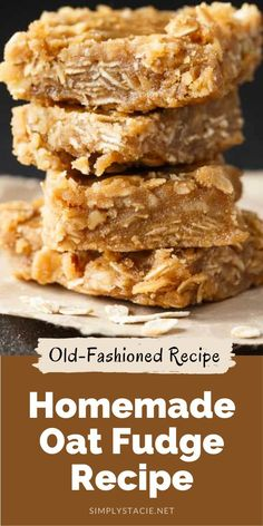Oat Fudge - Add a little texture to your basic brown sugar fudge recipe with the addition of nuts, coconut and oats! Brittle Recipes, Fudge Recipes, Chef Recipes, Candy Recipes, Vegan Recipes Easy, Sweet Recipes, Baking Recipes, Sweet Desserts, Easy Desserts