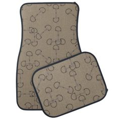 Equestrian Themed Car Floor Mats for the horse lover! Has a tan or beige english horse bit pattern that is very classic and stylish. Perfect for hunter jumper and eventing and dressage riders who need this for their trucks!