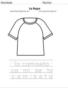 OnlineFreeSpanish.com - La Ropa - Clothes - Páginas para Colorear - Coloring Pages